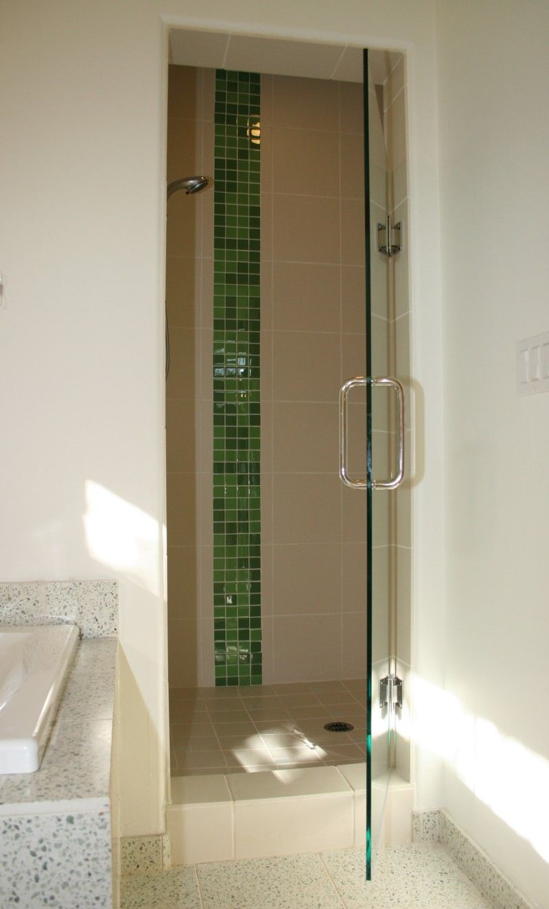 Bathroom, : Cool Modern Shower Designs With Dark Green Glass Tile , Nice  Big Glass