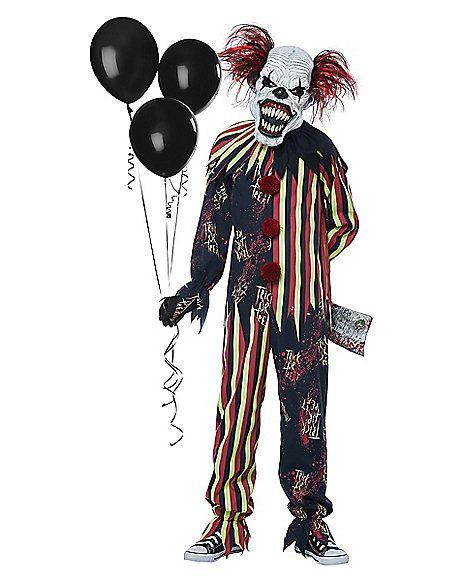 Boys Psycho Killer Clown Halloween Horror Fancy Dress Costume Childs Outfit