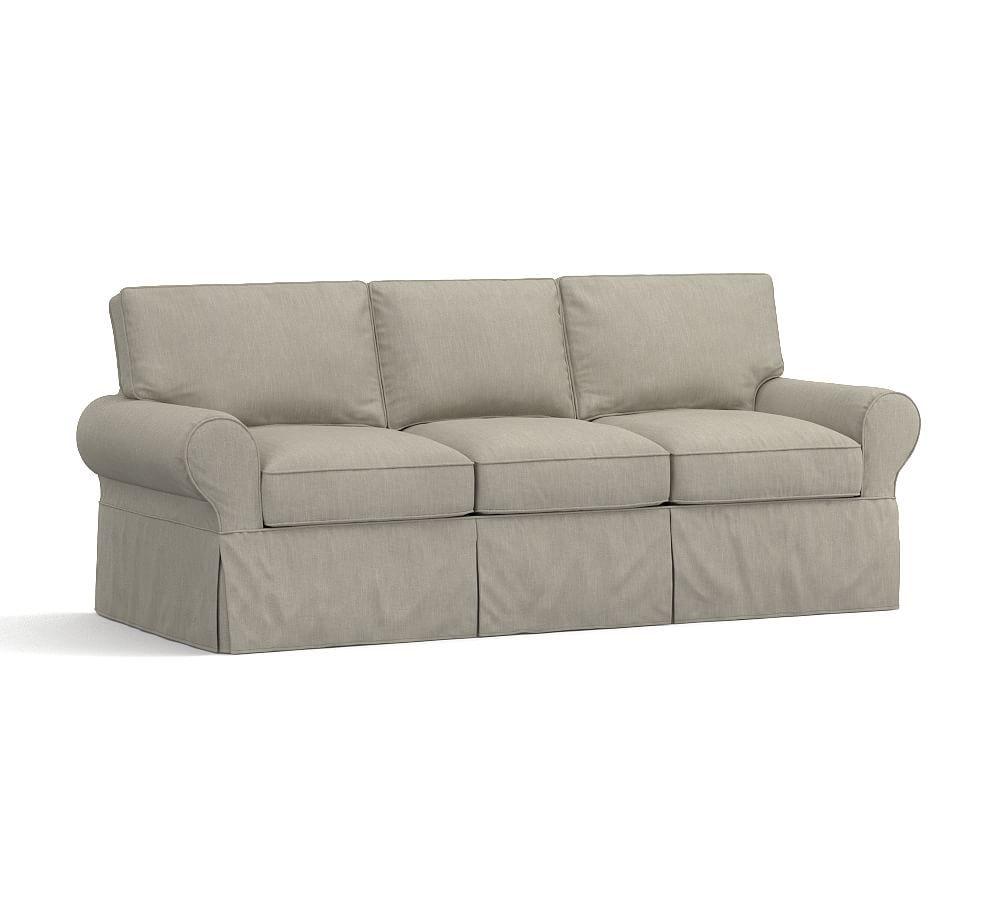 pb basic sleeper sofa slipcover tweed silver taupe sofa rh pinterest com