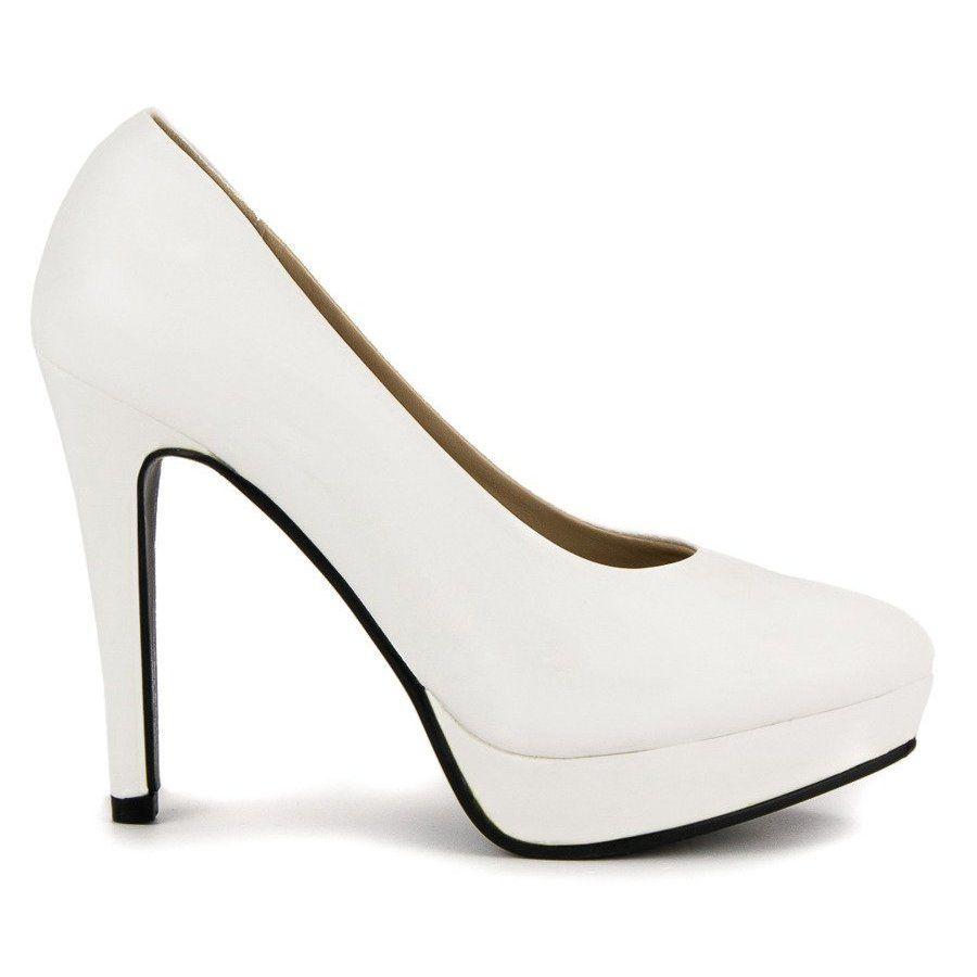 J Star Seksowne Szpilki Na Platformie Biale Heels Shoes Pumps
