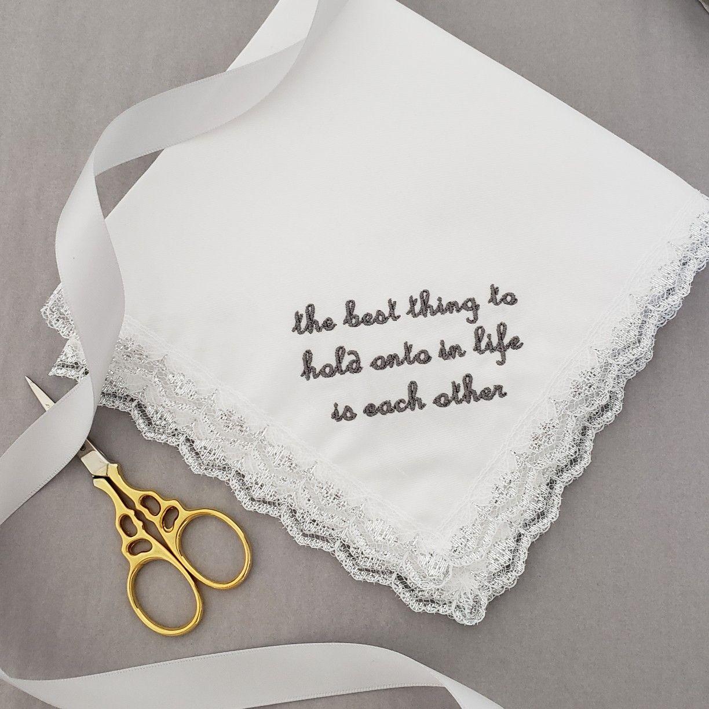 Silver Lace Wedding Hanky Bridal Handkerchief Wedding Hankies Silver Lace