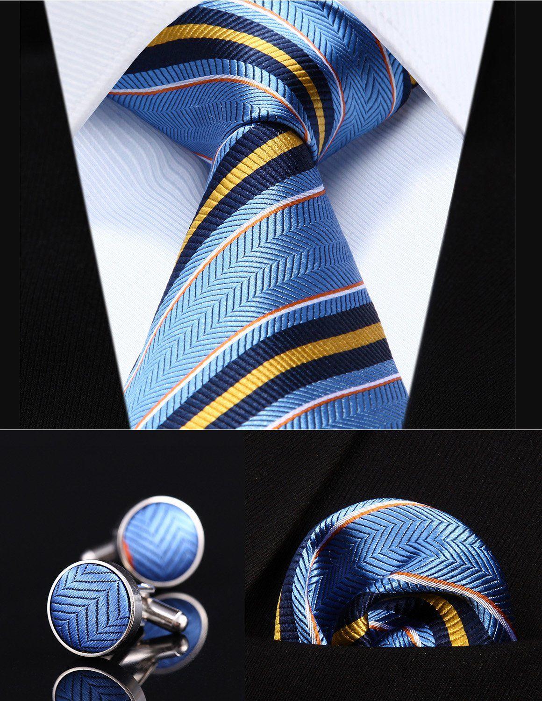 e10c165176c2 ... Silk Men Tie Necktie Handkerchief Cufflinks Set. Necktie + Pocket  Square + Cufflink (Blue/Yellow/Striped)