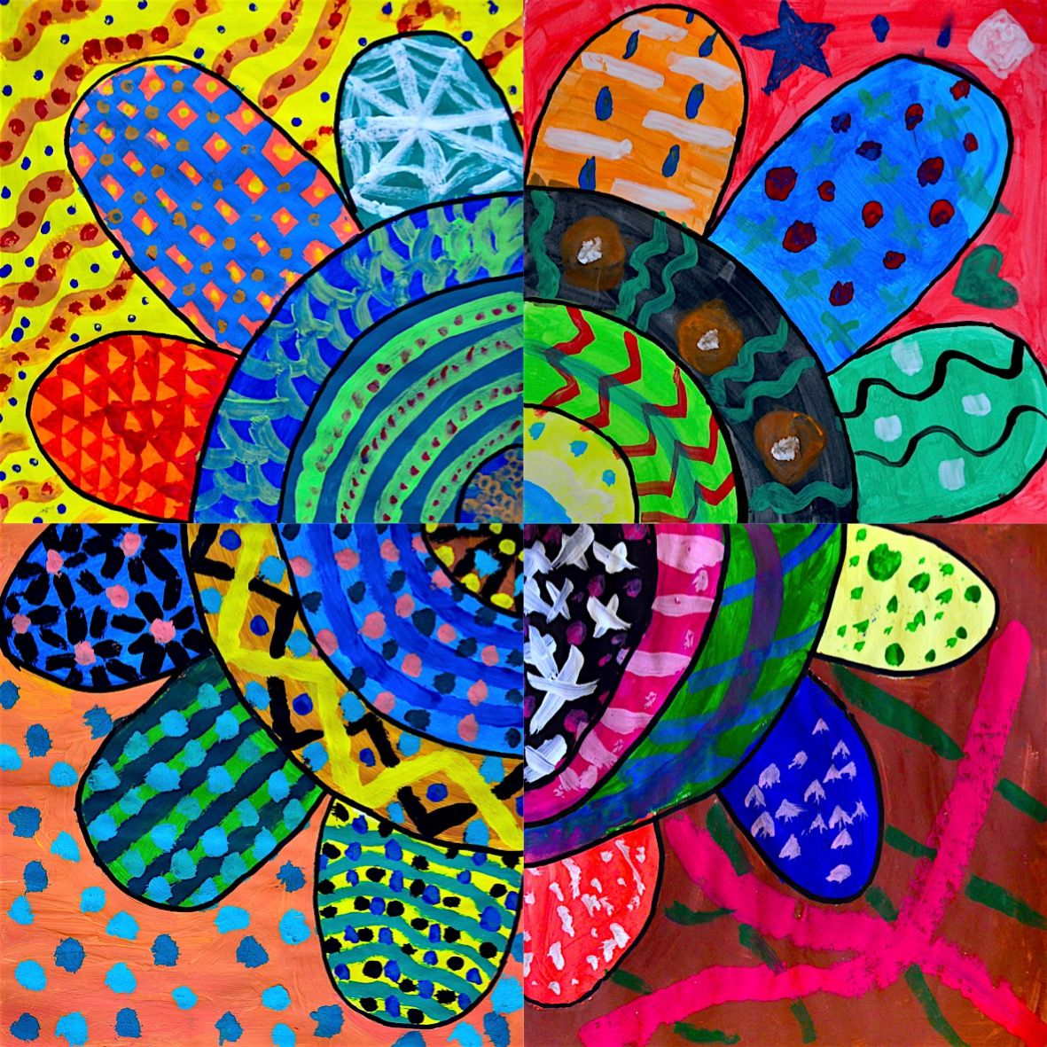 Working on the textures we painted these flowers with the 6th grade students. We practiced lots of different textures, using tempera painting with different tools, as small, large, flat and round p…