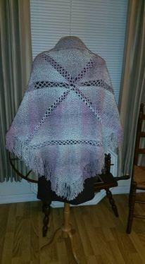 Handwoven Triangle Loom Shawl, back
