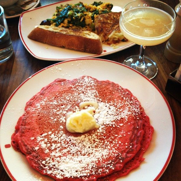Founding Farmers #brunch with #redvelvet #pancakes #scramble and #cocktails (Photo Credit @Denisse 'Garcia' Campbell Uribarry)