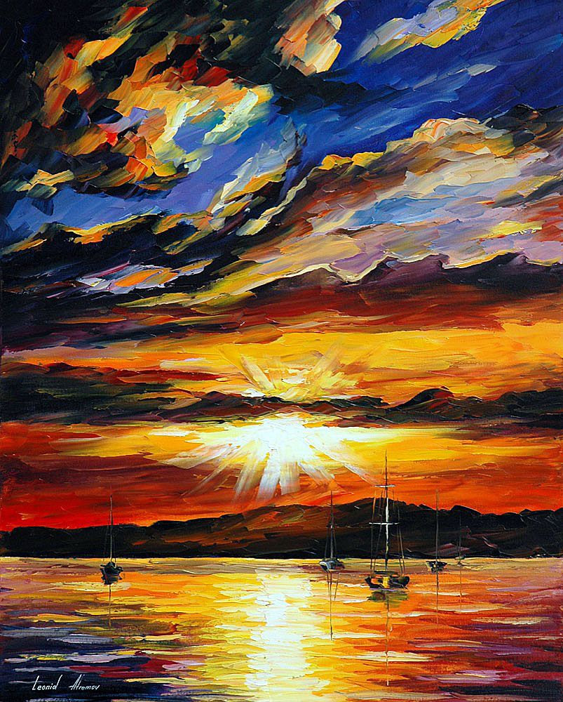 FLASH OF THE SUNSET — PALETTE KNIFE Oil Painting On Canvas