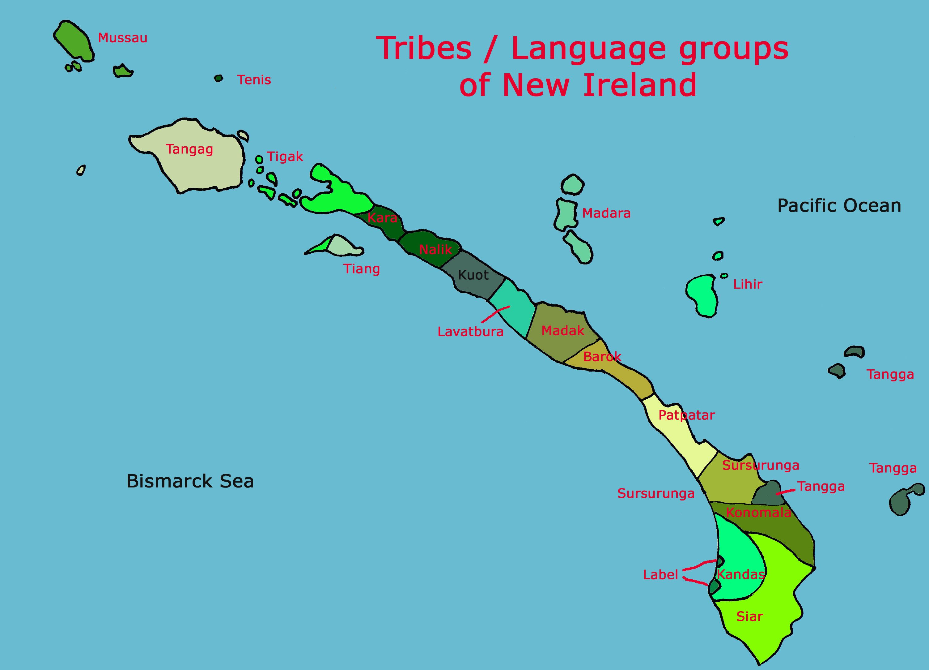Tribes Language Groups Of New Ireland Formerly New Mecklenburg