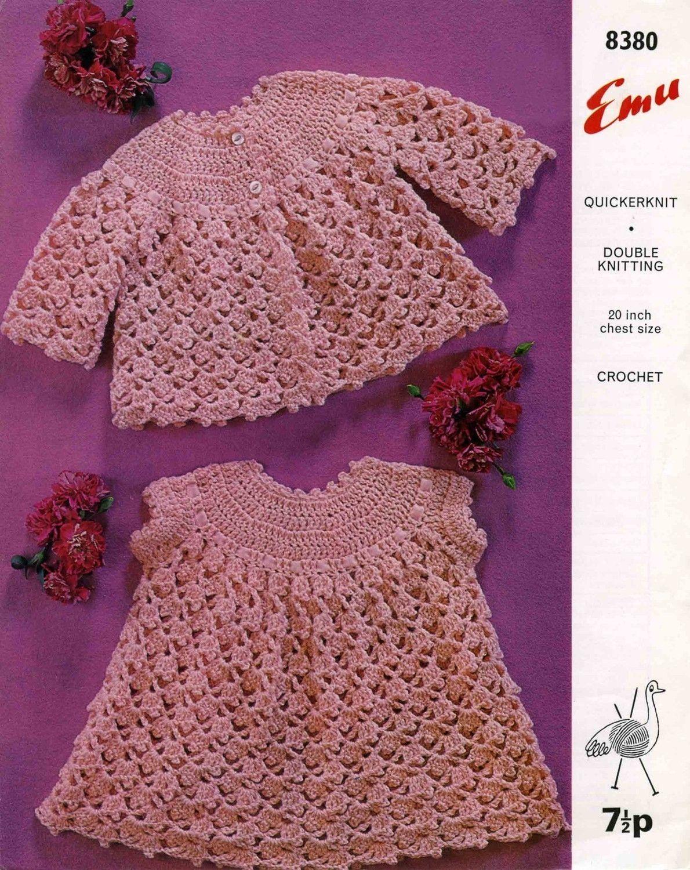 Vintage Babys Dress and Coat, Crochet Pattern, 1960 (PDF) Pattern ...