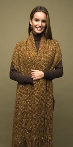 Free Crochet Pattern 60392-C Elegant Comfort Shawl : Lion Brand Yarn Company