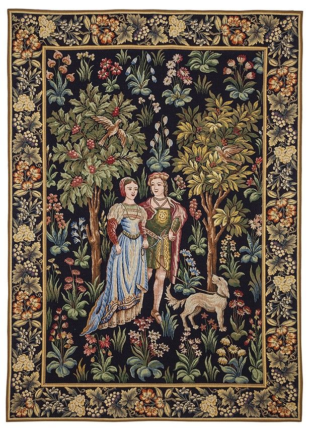 Scene Galantes Noble Couple Tapestry Medieval Mille