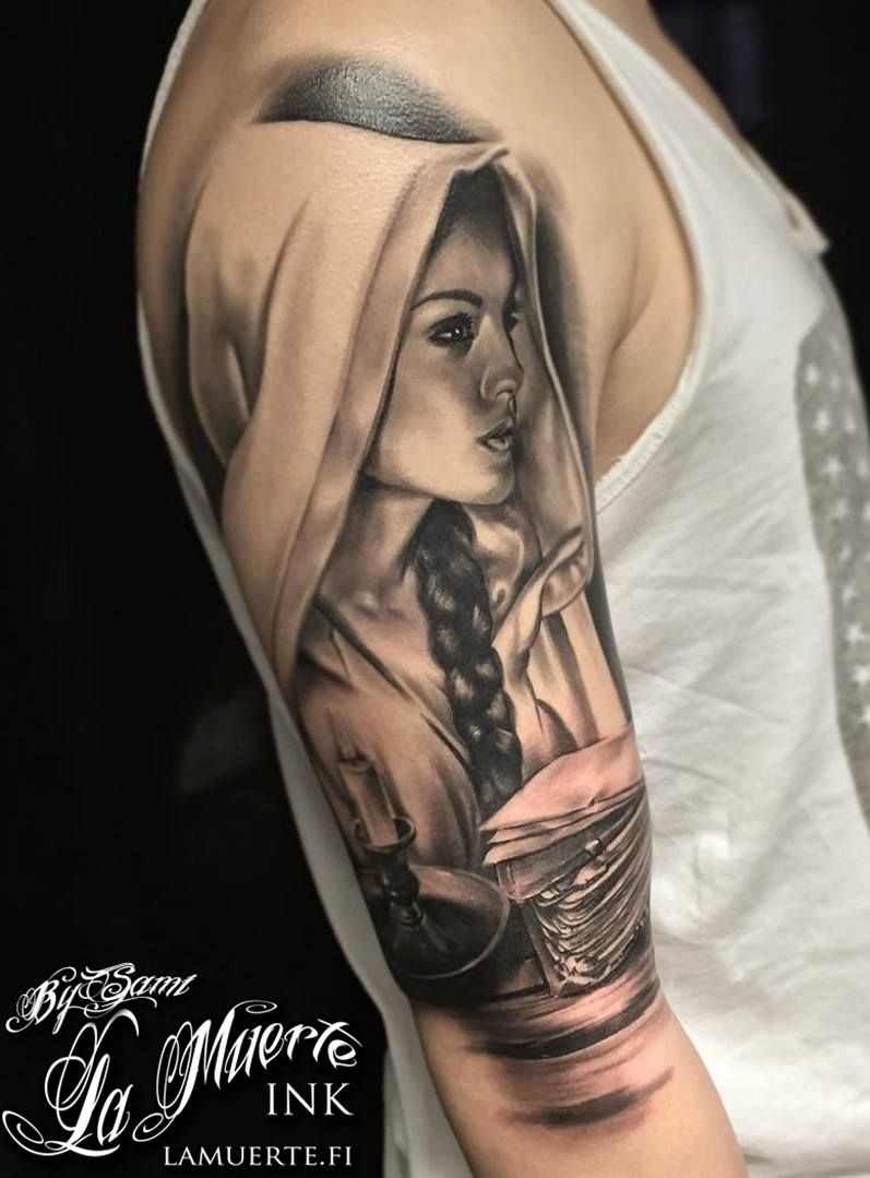 Girl tattoo by Sami Haataja @ La Muerte Ink
