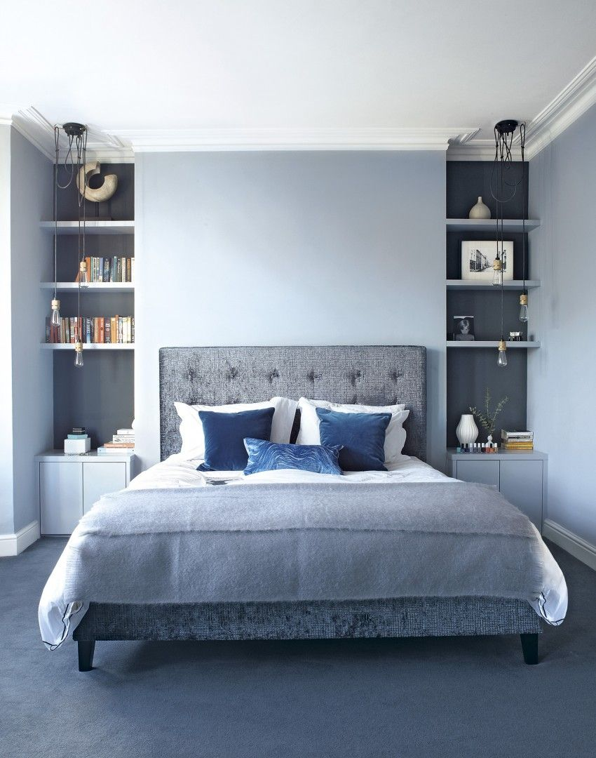 Blue bedroom design ideas - Modern Blue Bedroom With Alcove Shelving And Pendants Good Way To Use The Particularities Of