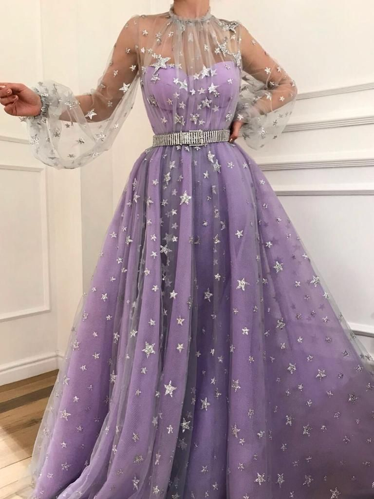 Long sleeve prom dresses high neck aline sparkly star lace lilac