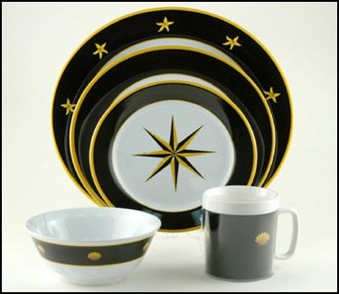 Black Compass Nautical Melamine Dinnerware from Blue Barnacles  sc 1 st  Pinterest & Black Compass Melamine Dinnerware Set | OceanStyles.com | Nautical ...