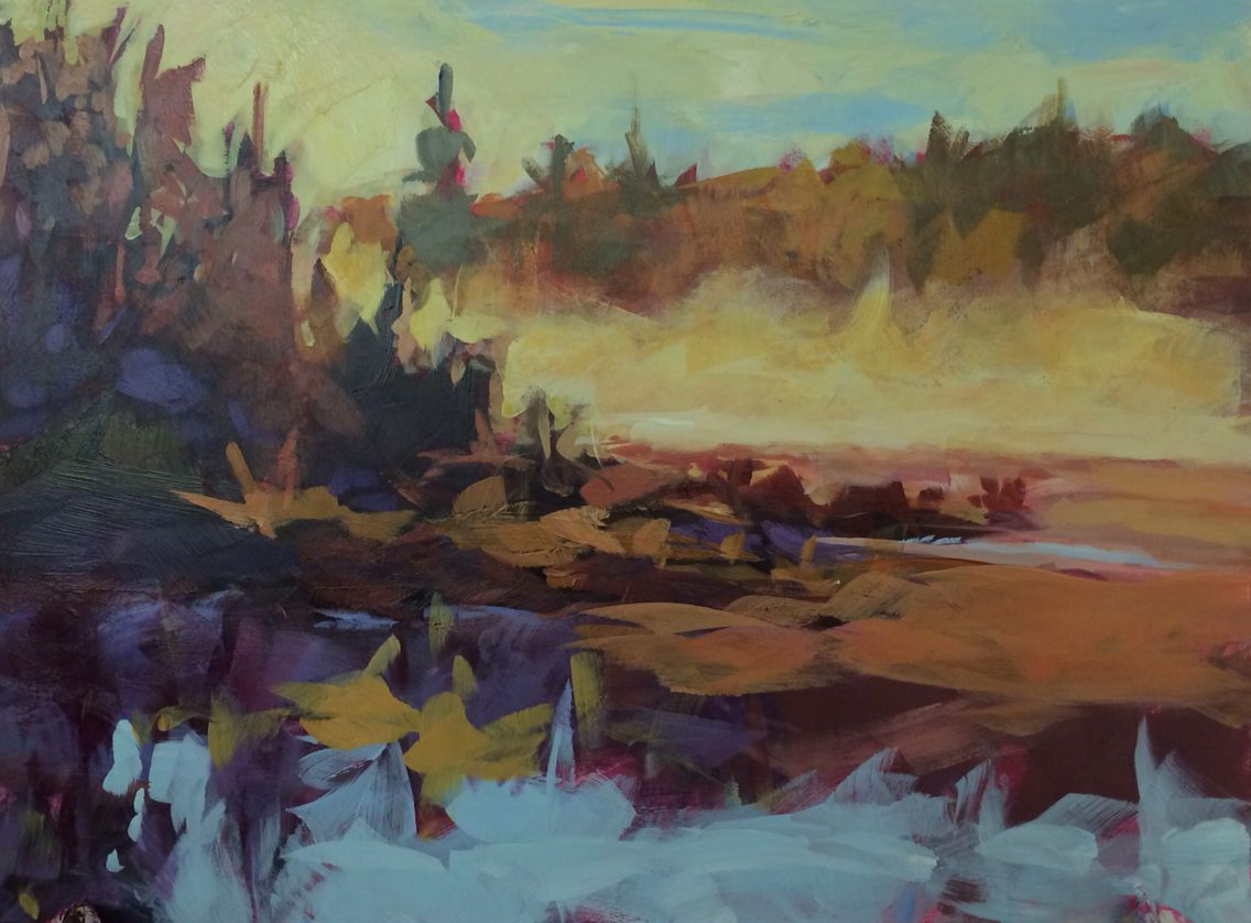 A quick gestural acrylic blockin of a marsh at sunrise