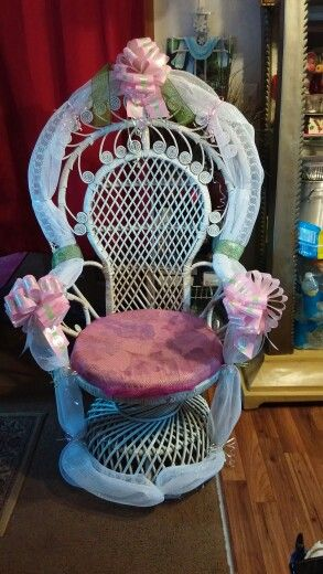 Redecorated chair for baby shower.