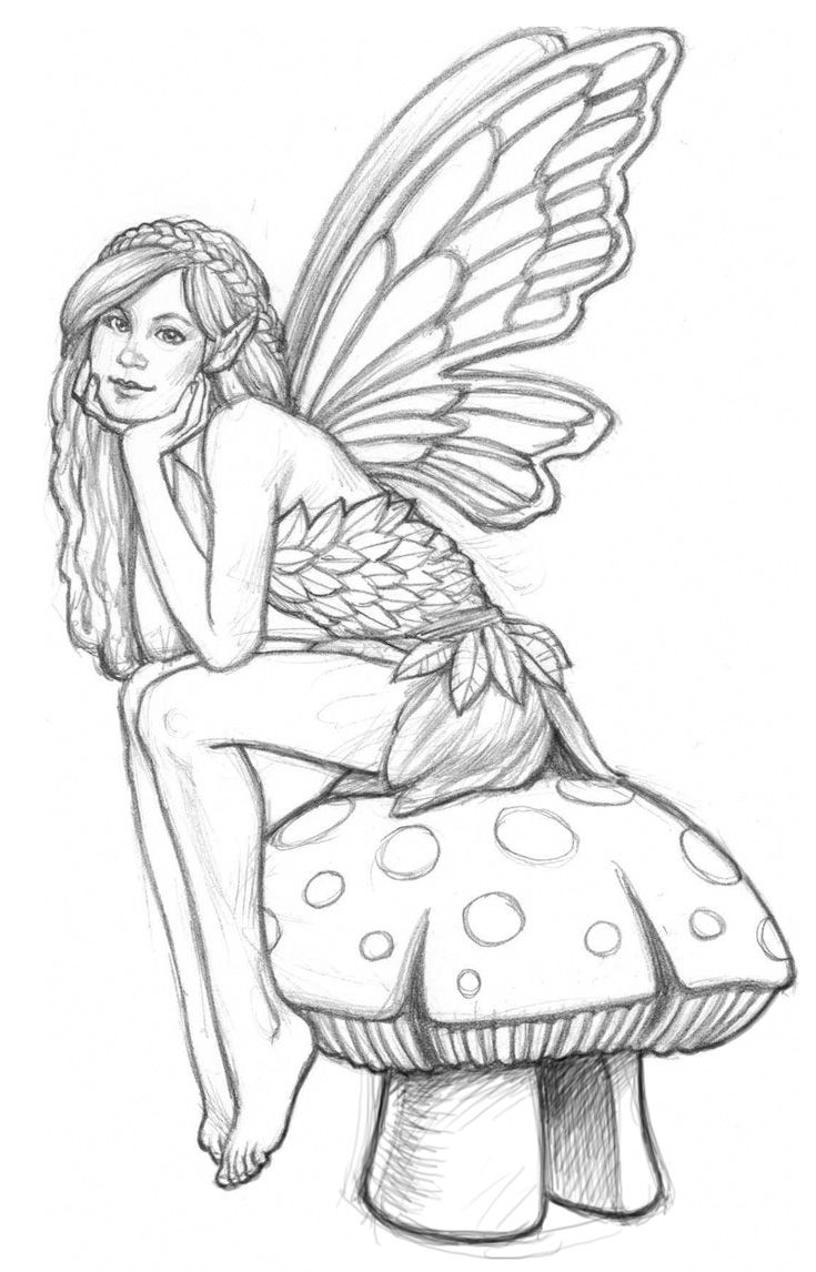 Fairy Mushroom Coloring Pages