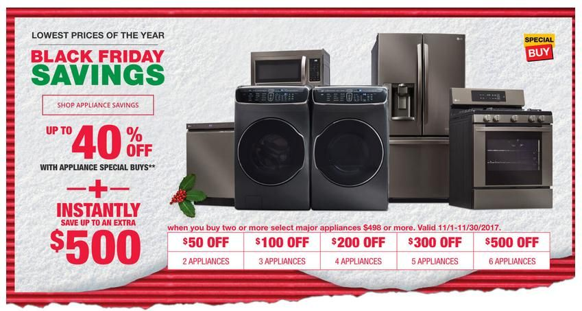 Home Depot Black Friday Savings Up To 40 Off With Appliance Special Buys Homedepot Blackfr Home Depot Coupons Black Friday Appliances Black Friday Savings