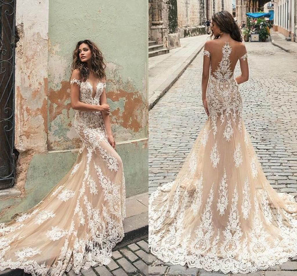 Berta 2019 Champagne Mermaid Wedding Dresses Sheer Jewel Neck Short Sleeves Lace Bridal Gowns Illusion Bodices Court Train Wedding Gowns From Hot Wind 135 08 Lace Wedding Dress Vintage Julie Vino [ 950 x 1024 Pixel ]