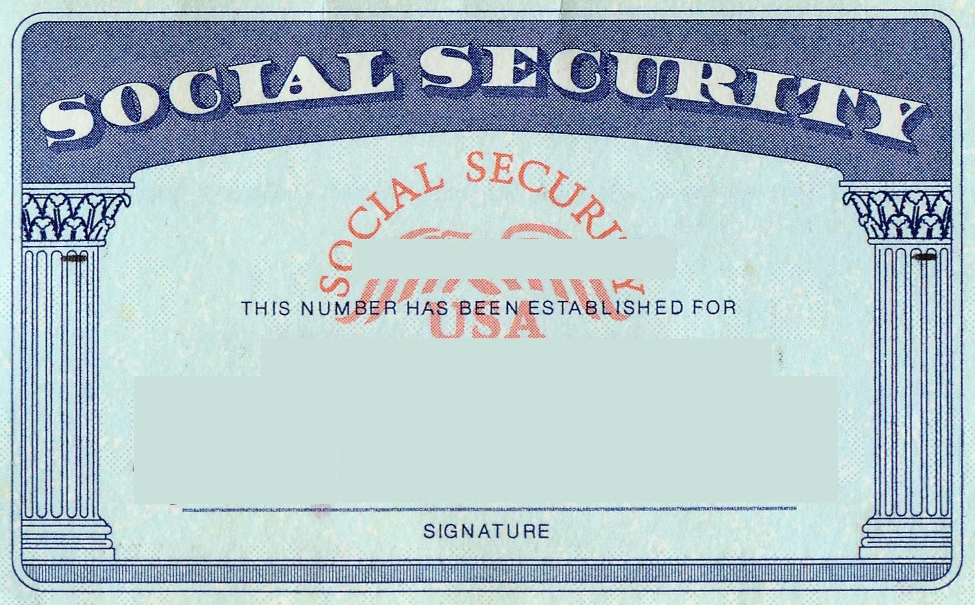 Blank social security card template id card template