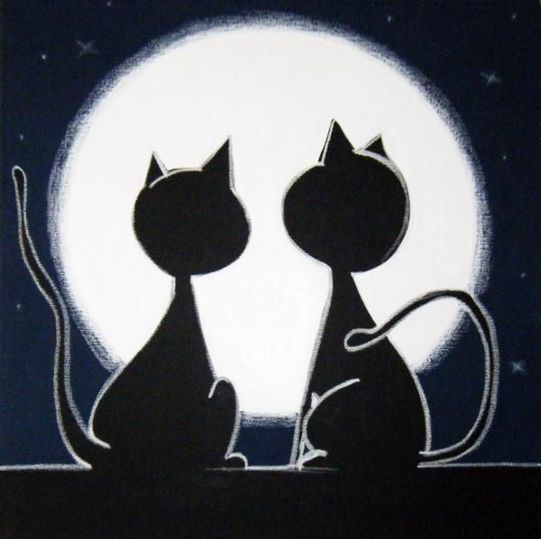 2 cATS LooKiNG aT tHE mOON - Mara Morea Chats Pinterest Chats - Dessiner Maison D Gratuit