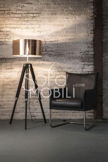 lampadaire abat jour cuivre trépied moderne BRASS
