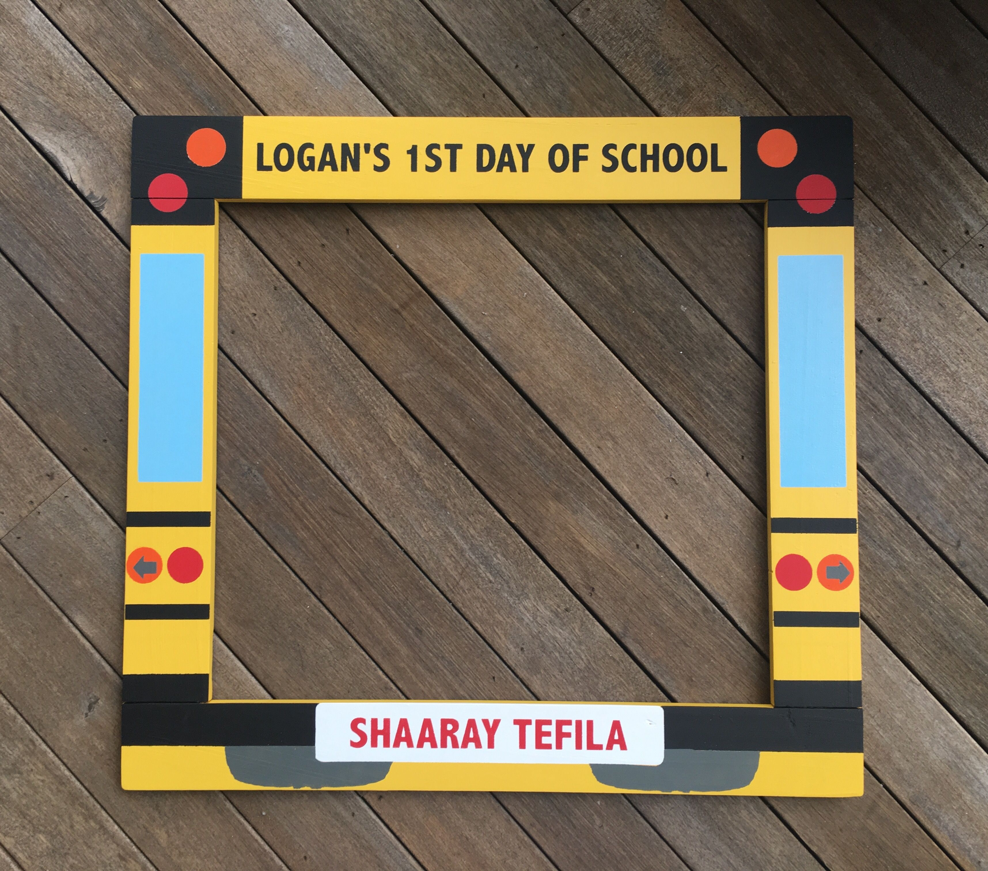 Back To School Photobooth Yellow School Bus Frame Prop 1st Day