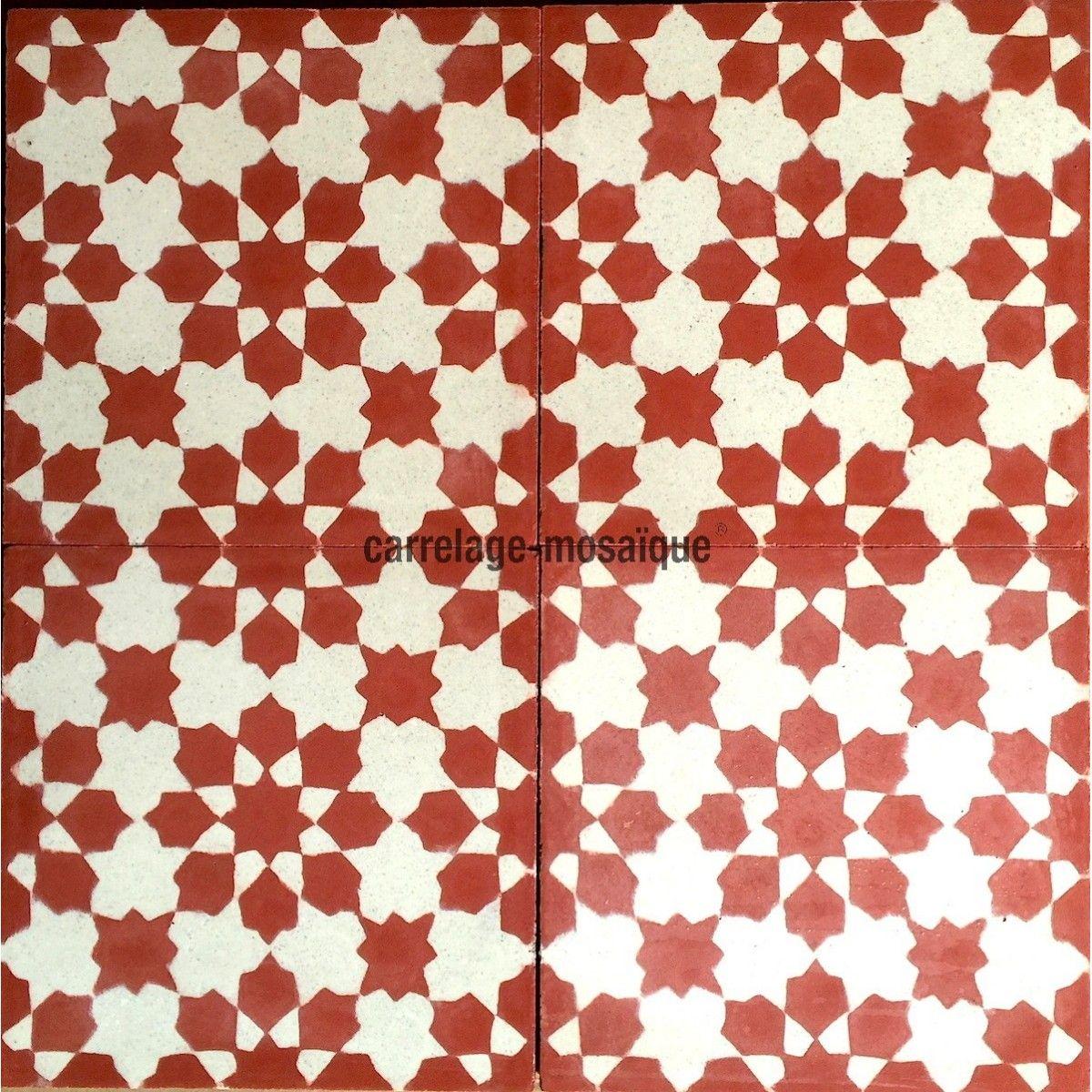 Carreaux de ciment 1m2 modele prisma rouge carrelage for Carrelage sol rouge