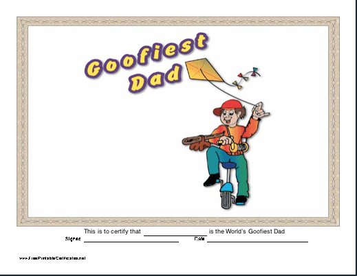 Goofiest Dad Printable Certificate Other Real Certificates