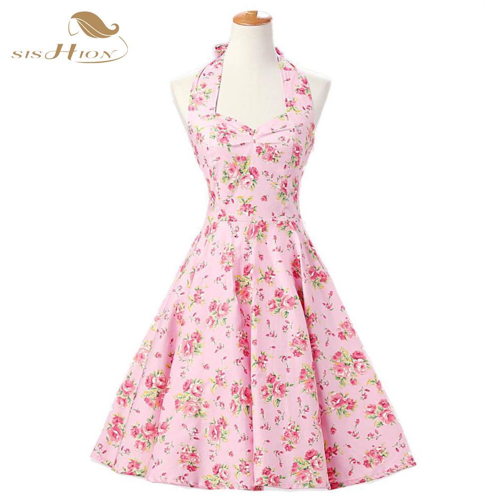 SISHION Elegant Pin Up Vestidos Plus Size Women Summer Dress Retro ...