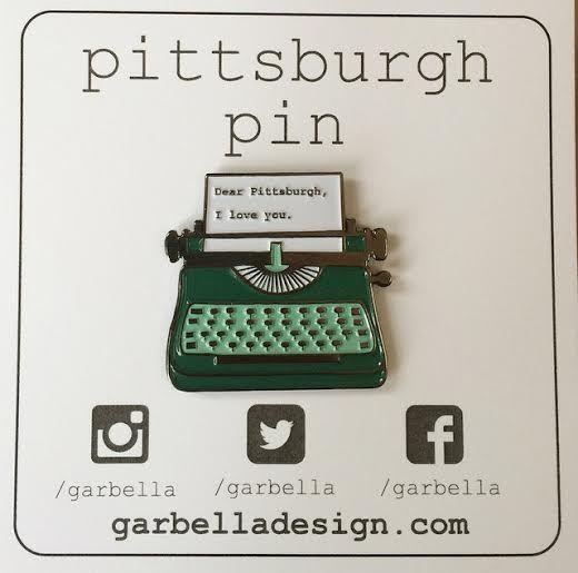 Pittsburgh Pin!  Dear Pittsburgh, I love you. Typewriter Enamel lapel pin from garbelladesign.com