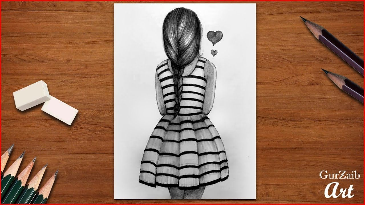 How to draw a girl back side Girl hairs back view