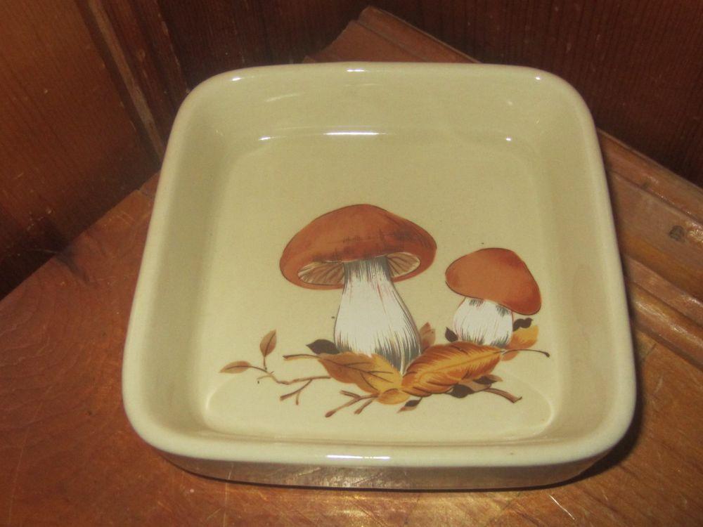 "Vintage Brown Ceramic Mushroom Trinket Tray Dish Handpainted 4"" Square"