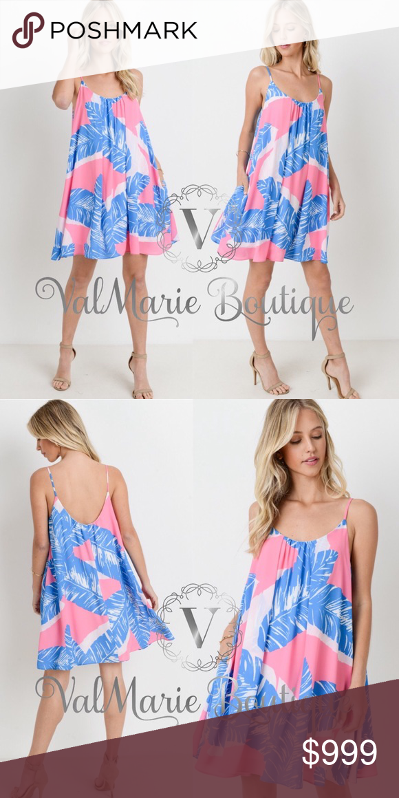 20ba8a4c80107 Tropical palm leaf swing dress Coming soon! This beautiful pink and blue