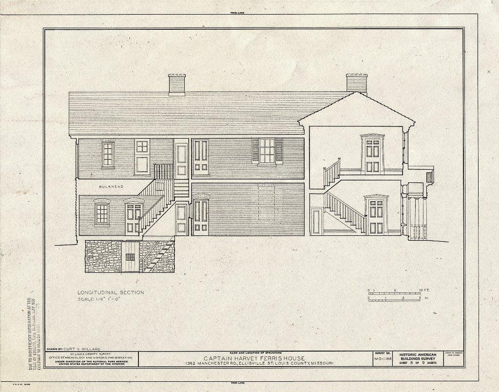 Historic Pictoric Blueprint HABS MO 95 Ellis 1 Sheet 8 of 9 Captain Harvey Ferris House 1362 Manchester Road Ellisville St Louis County MO