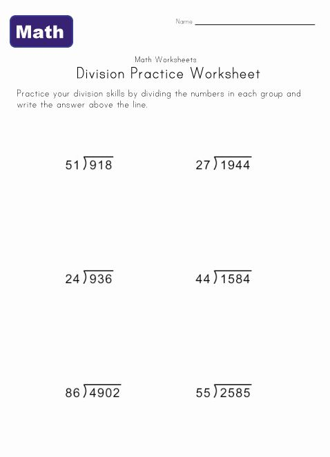 Long Division Worksheet  Education    Long Division