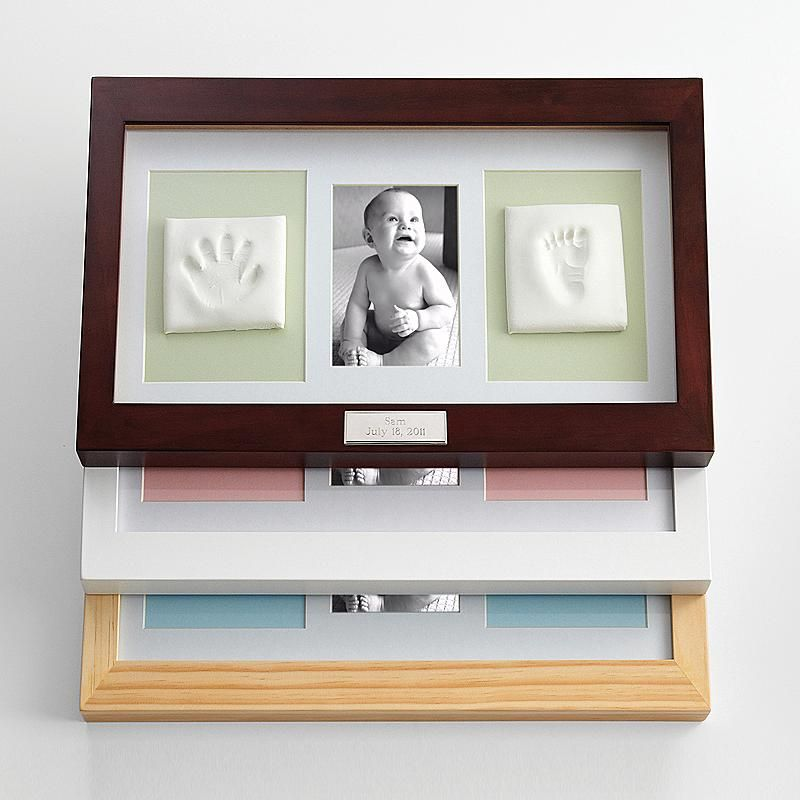 Deluxe baby handprint and footprint picture frame baby keepsake adorable mess free handprint and footprint keepsake set is a wonderful way to preserve babys negle Image collections