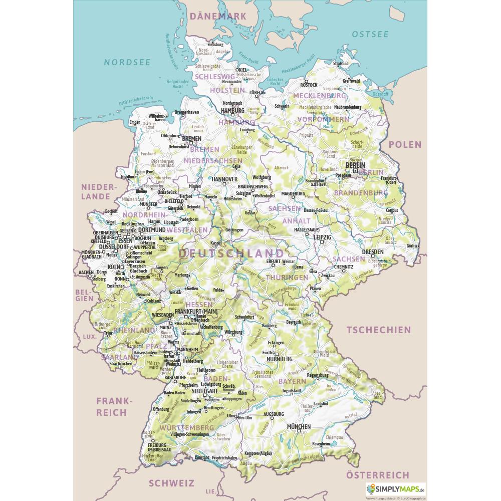 deutschland karte kostenlos Physische Karte Deutschland A4 Format   Kostenlos, Vektor