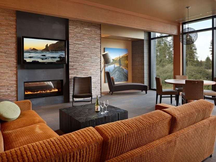 Gas Fireplace tv above gas fireplace : contemporary gas fireplace with TV above - Google Search | April ...