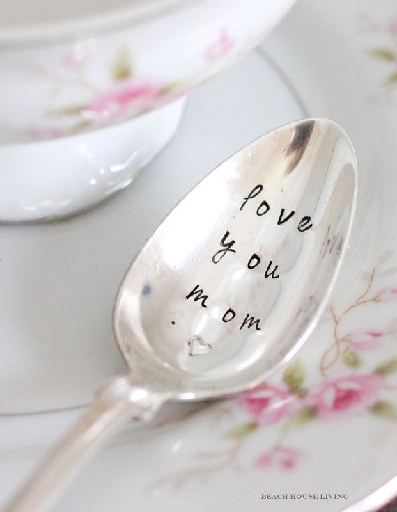 Mothers Day Love You Mom Heart Spoon Pee Hand Stamped For Valentines Gifts Under 20 Dollars By Beach House Living