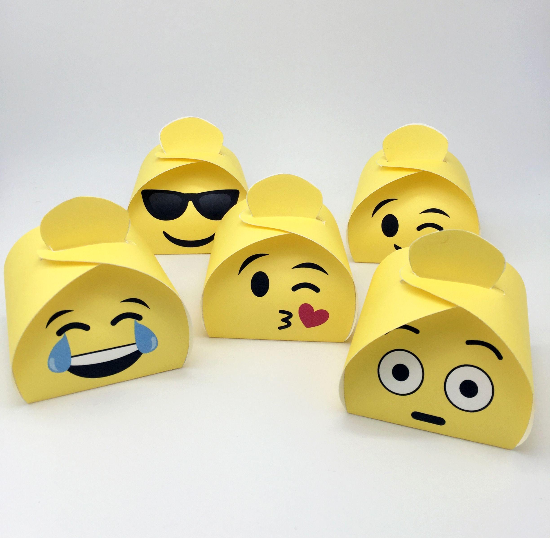 Emoji Gift Boxes Printable Set Of 6 Characters Diy Favor Etsy In 2020 Emoji Gifts Diy Favor Boxes Emoji