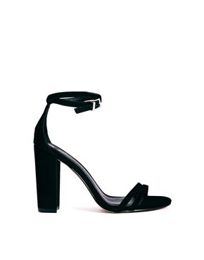 Black minimal strappy heel