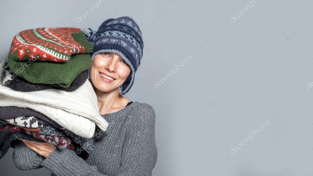 Autumn Winter Woman Portrait Young Woman Holding Pile Sweaters Wearing - , #Aff, #Woman, #Portrait, #Autumn, #Winter #AD