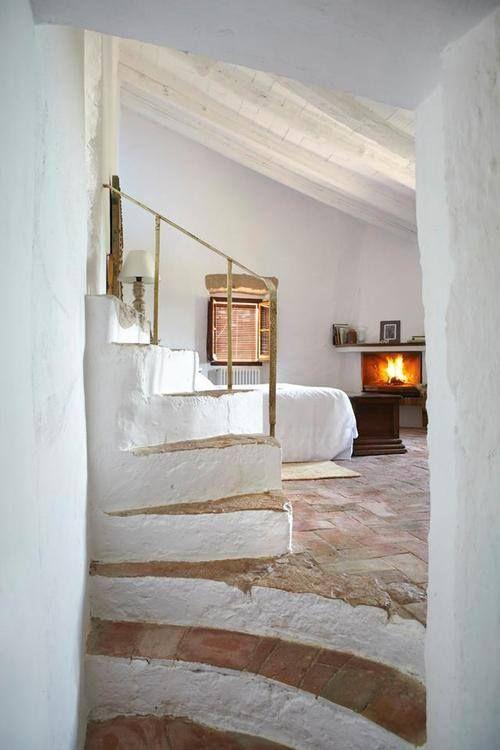Corner Fireplace ... Whitewashed Stair Risers ... Brick Floor .