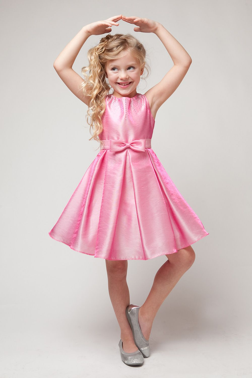 Tinkerbell Pink Two Tone Shimmer Taffeta Flower Girl Dress with ...