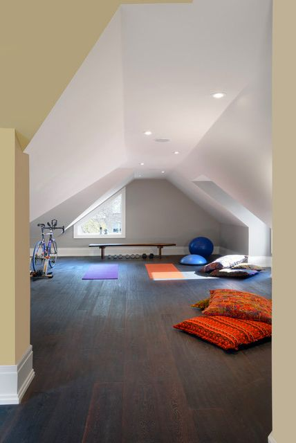 Upper Level Modern Home GYM Design  | The best attic home design ideas! See more inspiring images on our boards at: http://www.pinterest.com/homedsgnideas/attic-home-design-ideas/