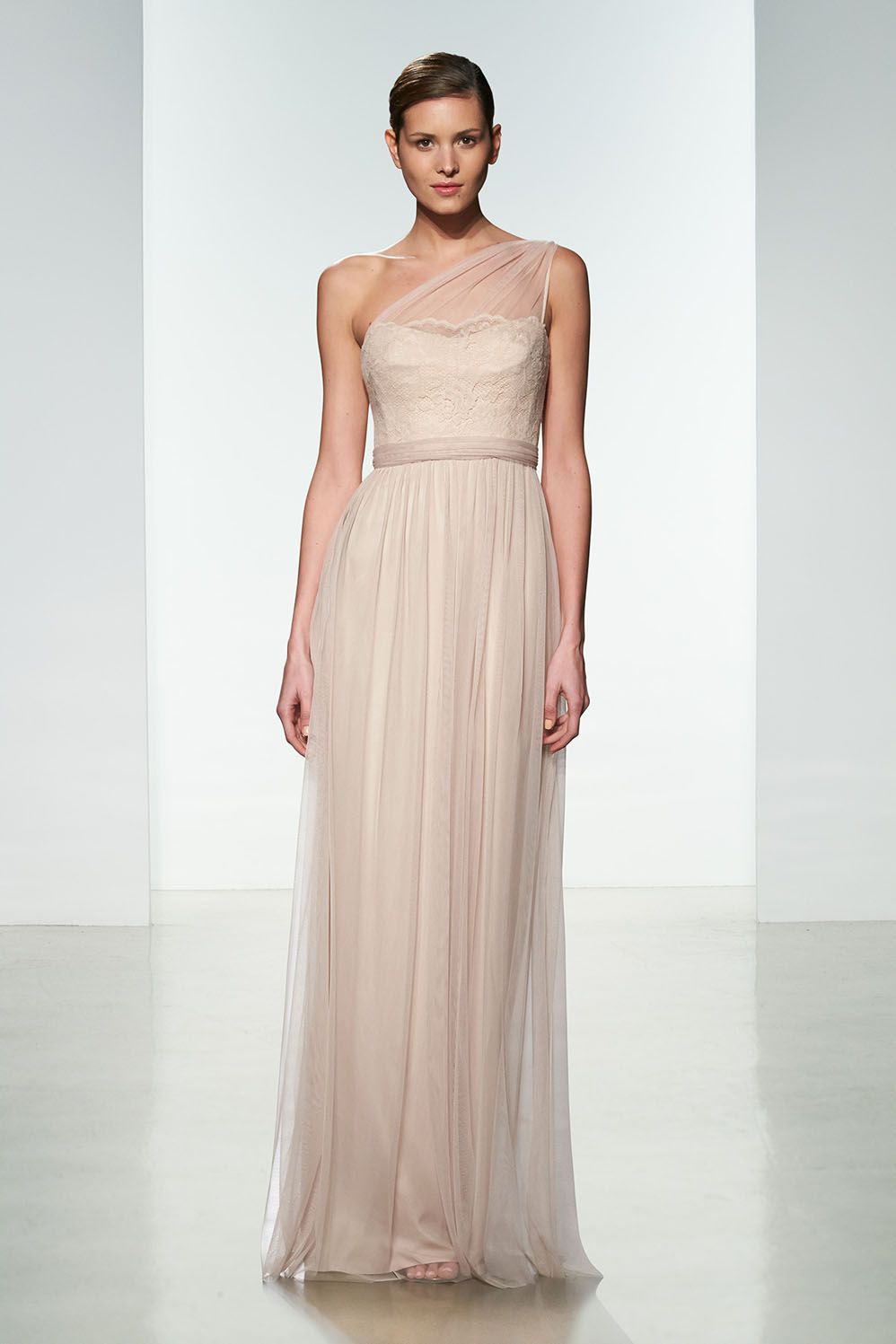 One shoulder lace bodice blush tulle long bridesmaid dress with