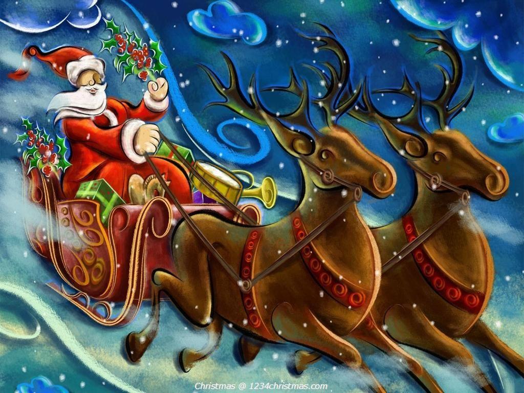 santa claus reindeer desktop wallpaper santa flying reindeer sleigh wallpapers pinterest santa and merry - Santa Claus And Reindeers