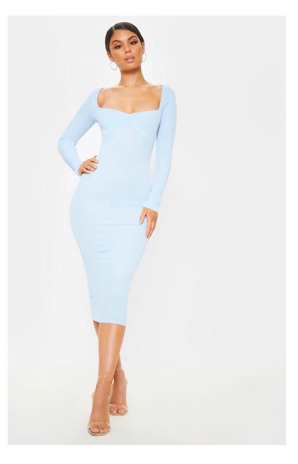 Prettylittlething Baby Blue Long Sleeve Long Sleeve Dress Outfit Long Sleeve Midi Dress Blue Bodycon Dress [ jpg ]