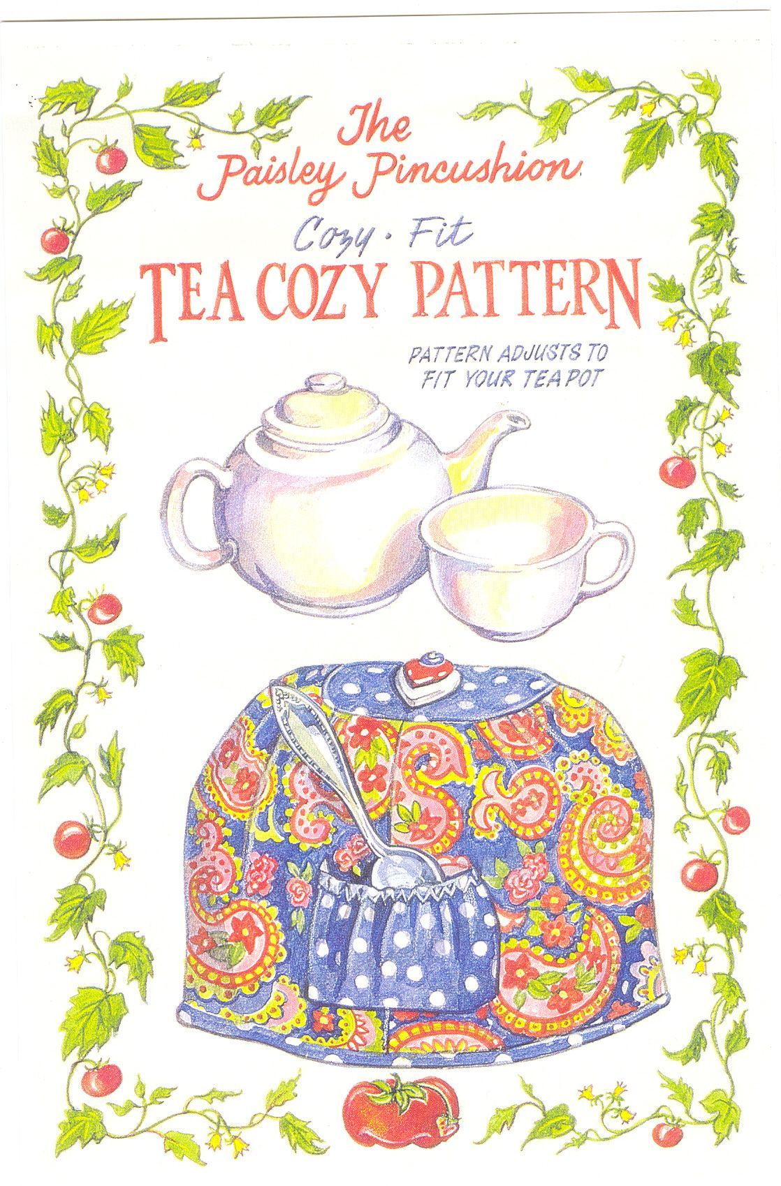Cozy Fit Tea Cozy Pattern | Paisley Pincushion | Pavas, teteras ...